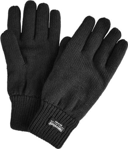Strick Fingerhandschuhe mit Thinsulatefütterung Winterhandschuhe Farbe Schwarz Größe M