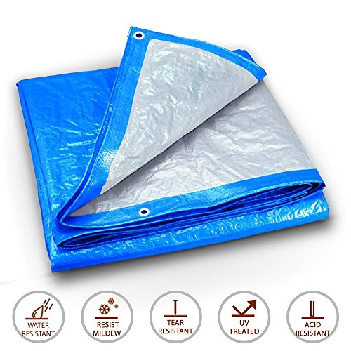 20-Foot by 40-Foot Blue and Silver Reversible Multi-Purpose Waterproof Poly Tarp Cover for Tents and Weather Protection by Moose Supply