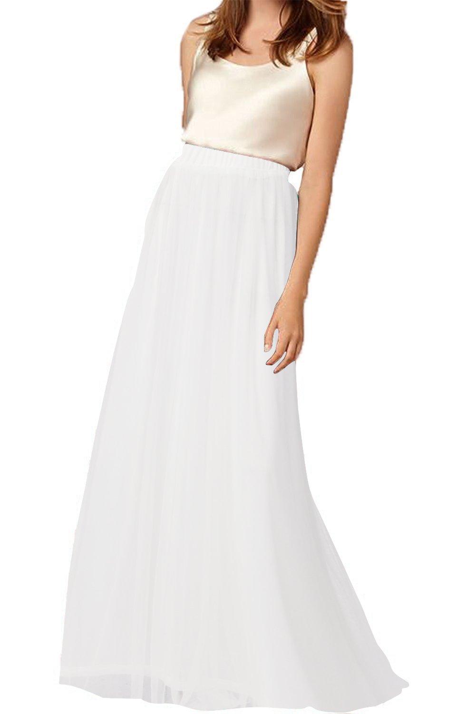Belovecol Womens Tulle Skirt Long 3 Layers Elastic Waist Wedding Skirts Dress M
