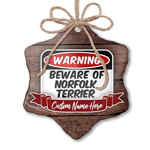 (NEONBLOND Custom Family Ornament Beware of The Norfolk Terrier Dog from Great Britain Personalized Name)