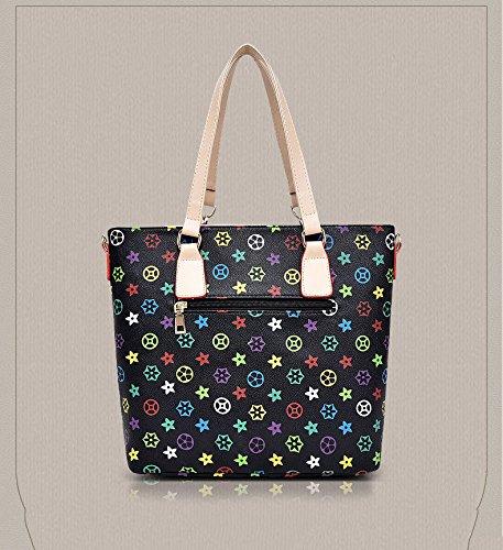 Bag Slung Shoulder Bag With Handbag,Black,Six Piece Set by SJMMBB (Image #2)