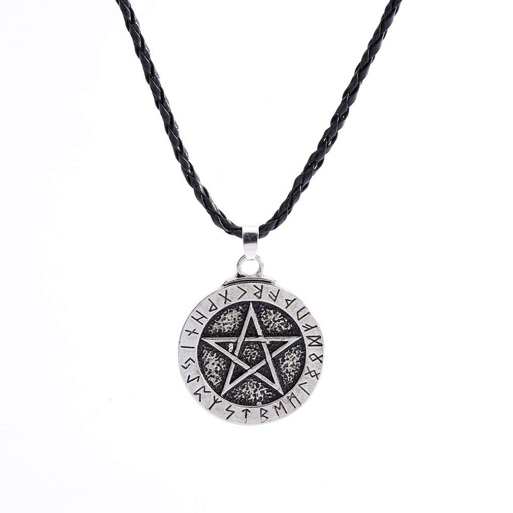 Jewelry Vintage Style Pentacle Pentagram Crescent Moon Stainless Steel Pendant Necklace Men Women (Silver)