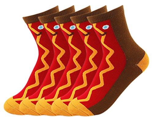BONAMART 5 Pairs Women Tube Winter Ankel Crew Socks Cotton 35-38 One Size Hot Dog -