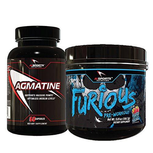 Furious Pre Workout Blue Raspberry Agmatine Combo Pack. 1 30 Serving Blue raspberry Furious plus Agamine 60 count bottle Amazing Energy And Pumps by Ai Sports Nutrition