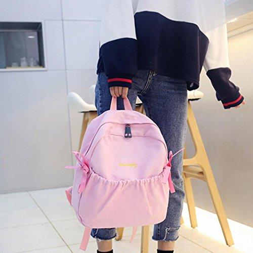 Bolso de Escuela Viaje Bolso de Hombro de Mochila de Lona Arco de Muchacha para Mujeres por ESAILQ Rosado