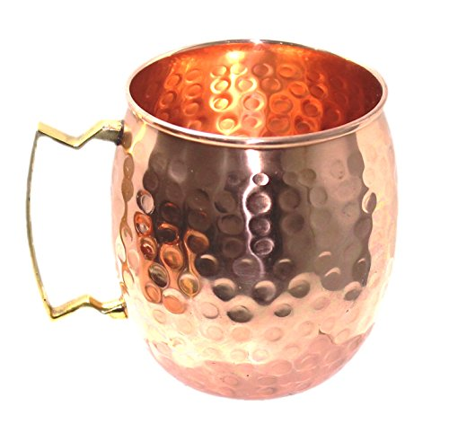 STREET CRAFT 100% Authentic Hammered Copper Moscow Mule Mug Handmade of 100% Pure Copper Brass Handle Hammered Moscow Mule Mug Cup Capacity 16 Ounce ()