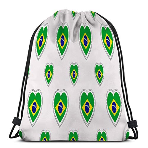 Casual Drawstring Bag Lightweight For Men And Women brazil brazilian flag stikers love hearts symbols good choice sports pages travel school Geometric