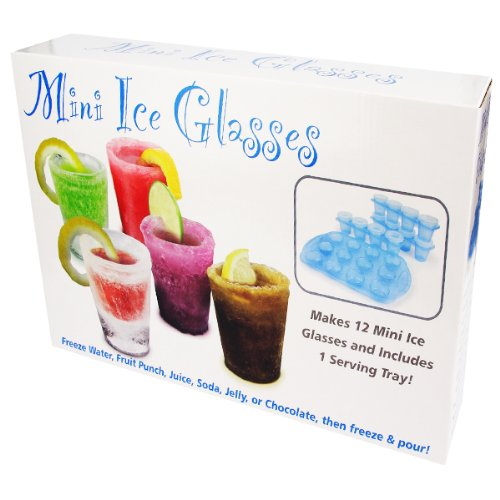 SHOT GLASS ICE MOLD WITH RE-USABLE PLASTIC SERVING TRAY (13PC. -