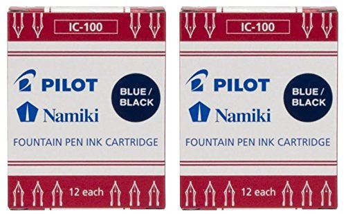 (Pilot Namiki IC100 Fountain Pen Ink Cartridge, Blue/Black, 12 Cartridges per Pack (Pack os 2))