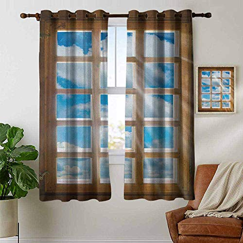 petpany Blackout Curtains Rustic,Wooden Window with Beaming Sun Scenic View of Sky and Cloudscape Print, Pale Brown Blue White,Thermal Insulated Panels Home Décor Window Draperies for Bedroom ()