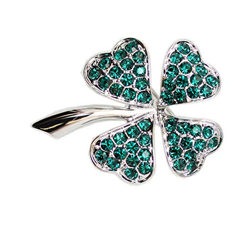 (Faship Gorgeous Green Shamrock Clover Leaf Pin Brooch - Emerald-4 Leaf/Silver-Tone)