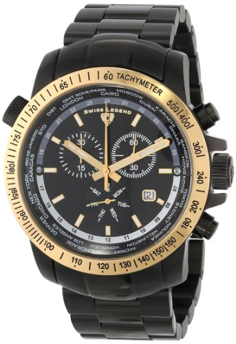 Swiss Legend Men's 10013-BB-11-GB World Timer Collection Chronograph Stainless Steel Watch Swiss World Timer
