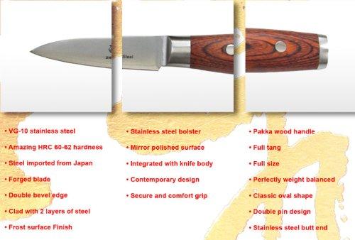 ZHEN Japanese VG-10 5-Piece 3-Layer Forged Steel Cutlery Knife Set, Pakka Wood by ZHEN (Image #11)