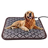 Pet Heating Pad - Dog Cat Electric Heating Pad Indoor Ultra Soft Cover Chew Resistant Cord Heated Bed 17.8 x 17.8 Inch