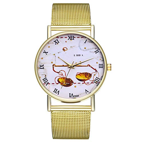 FEDULK Womens Retro Pattern Watches Mesh Strap Quartz Classic Pattern Round Wrist Watch(C, One Size) ()