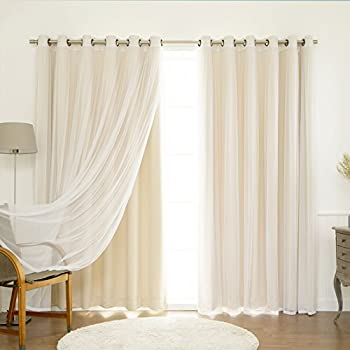 Best Home Fashion Mix Match Wide Width Tulle Lace Solid Blackout Curtain Set