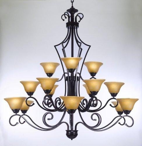 - Large Foyer Or Entryway Wrought Iron Chandelier H51