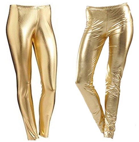 Bless per feste e discoteca Gold 11-12 Anni leggings da ragazza metallizzati con effetto bagnato lucenti