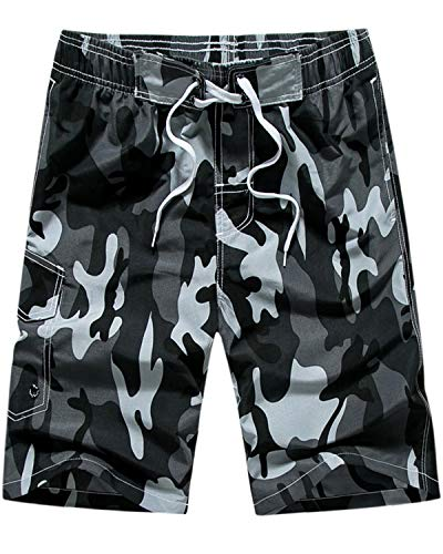 MACHLAB Men's Camouflage Printing Quick Dry Beach Board Shorts Swim Trunks Black 2XL