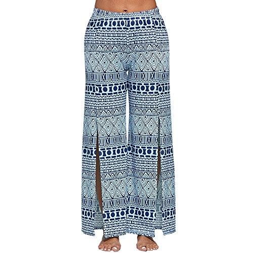 UROSA Womens Wide Leg Leggings Ptinted Drawstring Yoga Pants 2019 (L, Blue)