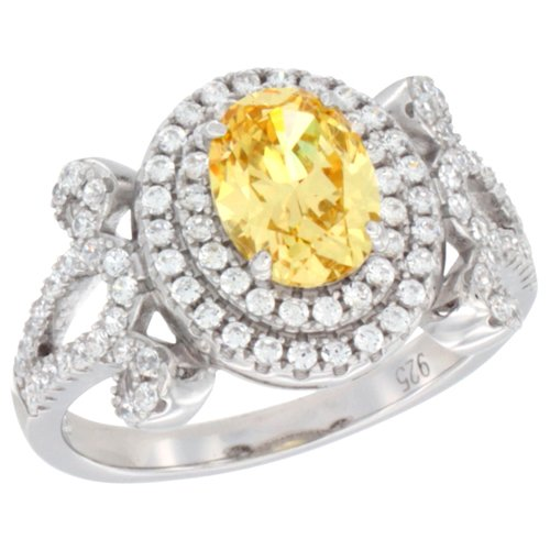 Ladies Sterling Silver Citrine Micro Pave CZ Ring Oval 8x6 mm, size 9