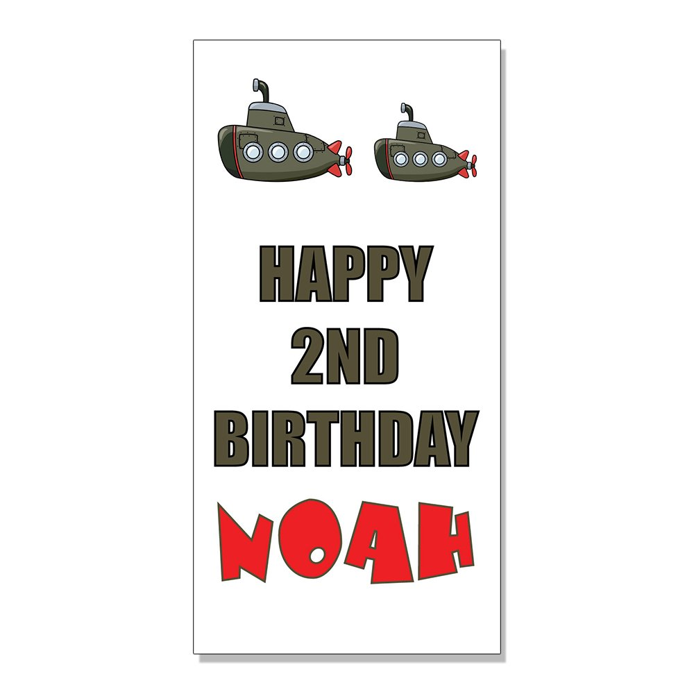 Amazon com happy 2nd birthday boy submarine custom decal sticker retail store sign 19 5 x 48 inches office products