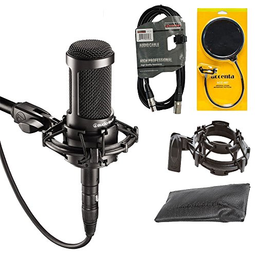 Audio-Technica AT2035 Large Diaphragm Studio Condenser Microphone + Shock Mount + Pop Filter + Mic Bag + XLR - At2020 Audio Condenser Studio Technica