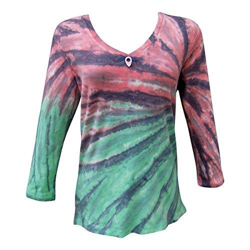 Nature Art Womens Cotton V Neck Top Tie Dye Shirt 3/4 Sleeves Ribbon Multi XL -
