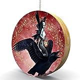 zombie fan pull - Zombie Fairy Crow Rider Hardwood Oak Fan / Light Pull