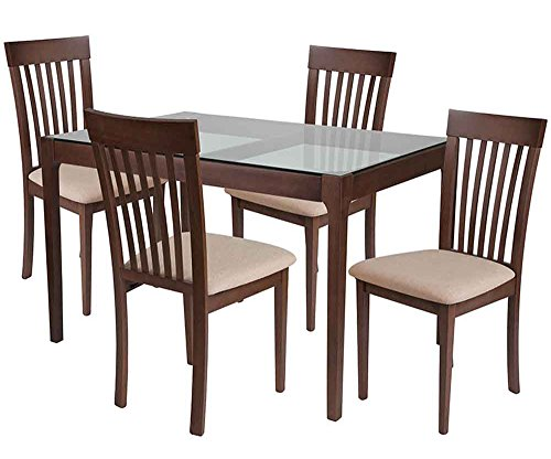 Flash Furniture Clayton 5 Piece Walnut Wood Dining Table Set with Glass Top and Rail Back Wood Dining Chairs - Padded Seats - Beechwood Fan Back Chair