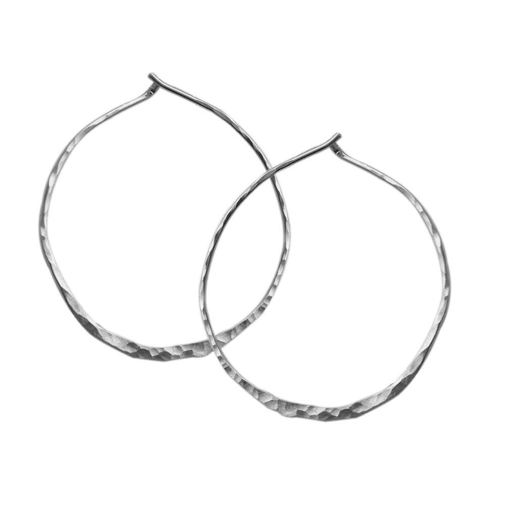 Hammered Round Hoop Earrings