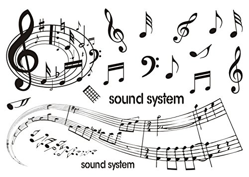 Set of 2 Waterproof Temporary Fake Tattoo Stickers Music Notes Sound System ()