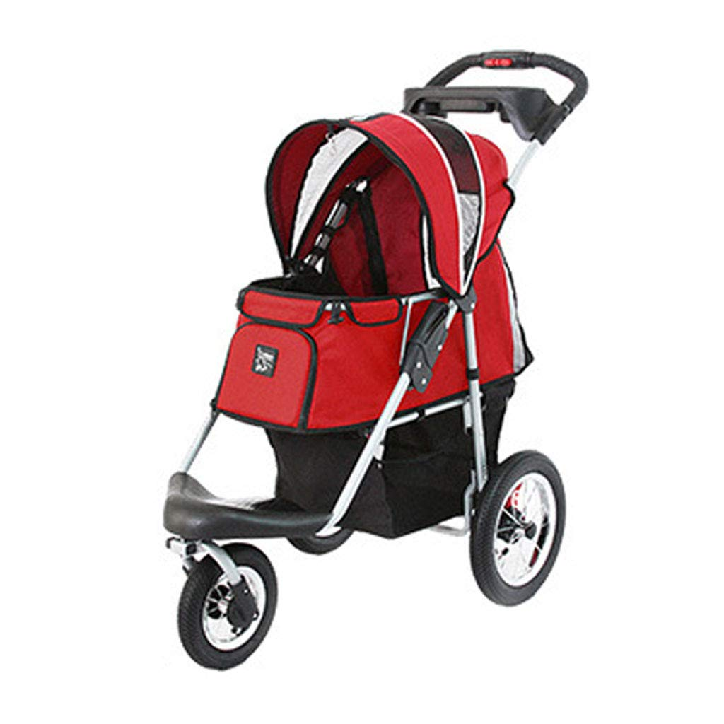 Red A3 Animal Stroller Dog Cart Cat Stroller Puppy Portable Out Car Weight 20 Kg to Pet Travel. Dog cart (color   Red)