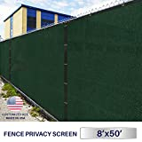 Windscreen4less Heavy Duty Privacy Screen Fence in Color Solid Green 8' x 50' Brass Grommets w/3-Year Warranty 130 GSM (Customized Sizes Available)