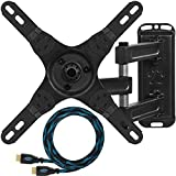 """Cheetah Mounts ALAMEB Articulating Arm TV and LCD Monitor Wall Mount, for 12 to 32"""" Displays up to 30 Lbs, Includes a Twisted Veins 10 Foot HDMI cable"""