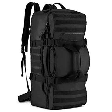 Tactical MOLLE Multifunctional Travel Bag with Padded Backpack Shoulder Straps  Duffel Duffle Bag(Black) c2365abf802