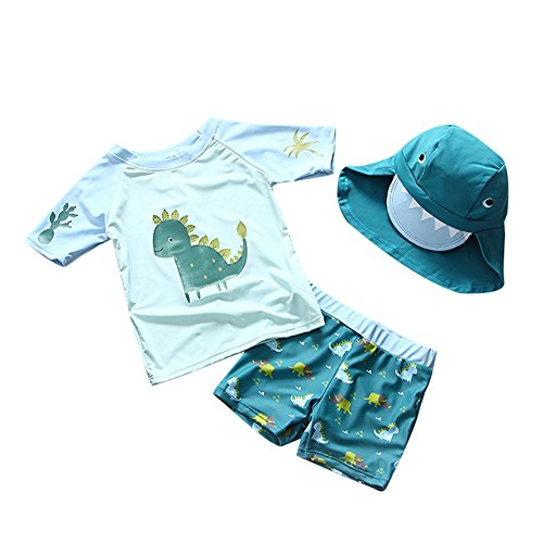 Collager Toddler Boys Two Pieces Swimsuit Set Boys Dinosaur Bathing Suit Rash Guards with Hat UPF 50+ (1-6T) by Collager