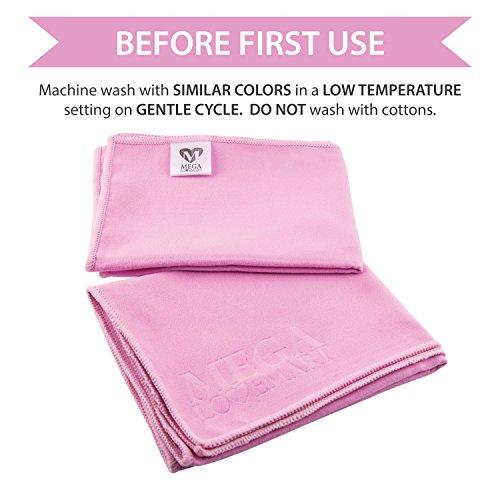 """MEGALOVEMART Set of 2 Super Absorbent 24"""" x 72"""" Microfiber Non Slip Yoga & Pilates Towels - Pink"""