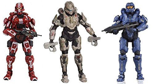 McFarlane Toys Halo 4 Series 3 Exclusive Spartan Soldier Red, Commander Palmer & Spartan Thorne Action Figure Bundle - Exclusive Mcfarlane Toy