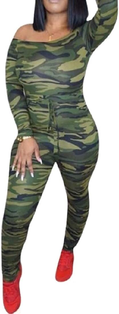 MK988 Womens Tie Shoulder Off Camouflage Print Summer Bodycon Long Jumpsuits