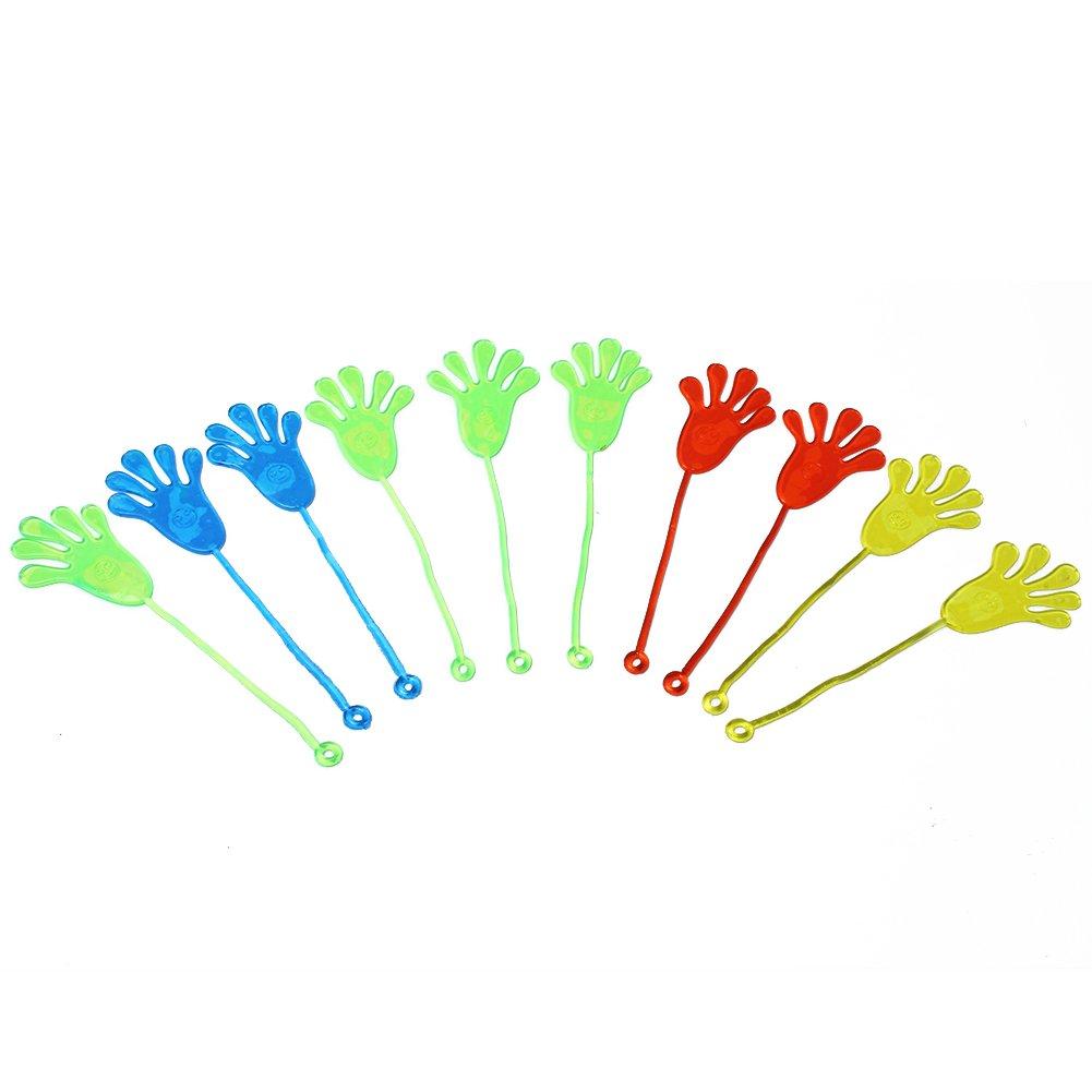 10 Pcs Vinyl Kids Party Supply Favor Mini Novelty Glitter Sticky Hands Slap Squishy Palm Toy styleinside
