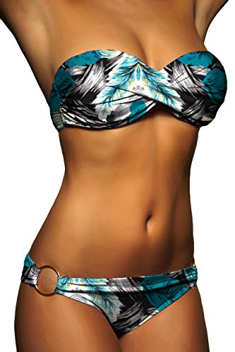 ALZORA Push Up Twist Bandeau Top Bikini Set Damen Pushup Badeanzug Bunt Muster , 20099