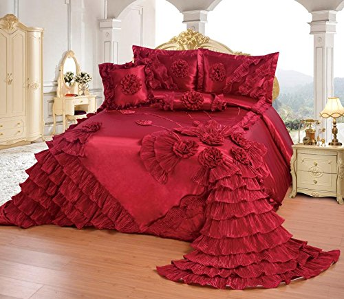 Octorose Royalty Oversize Wedding Bedding Bedspread Quilts Set (Wine, King/CalKing) by OctoRose