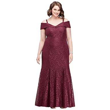 022f74e96e0 Cold-Shoulder Glitter Lace Plus Size Mermaid Mother of Bride Groom Dress  Style 2047W at Amazon Women s Clothing store