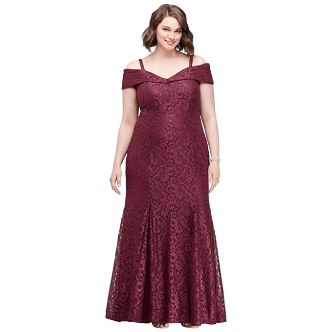 Cold-Shoulder Glitter Lace Plus Size Mermaid Mother of Bride ...