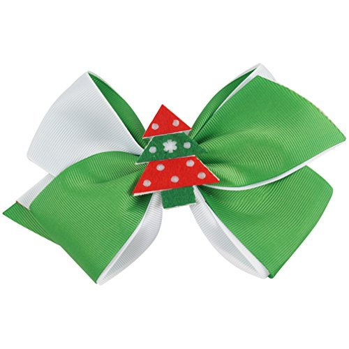 7Inch Christmas Tree Hair Clip Girl Grosgrain Hair Bows With Big Hairpins Christmas Hair Accessories 3Pcs/Lot (Clip Art Christmas Tree Merry)