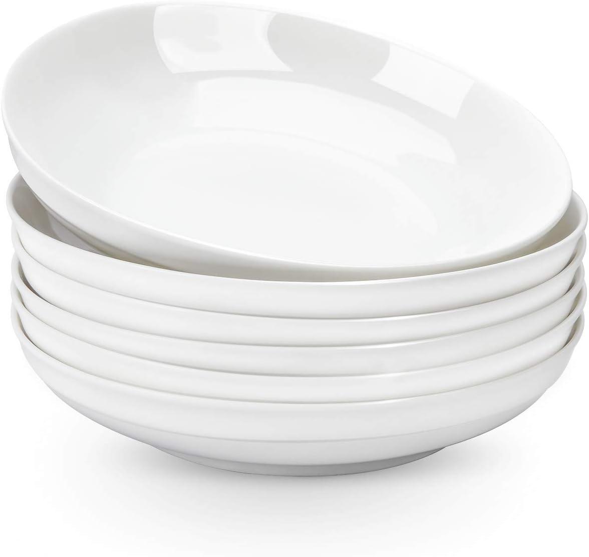 AnBnCn Porcelain Pasta Bowls - 30 Ounce - Large, Set of 6