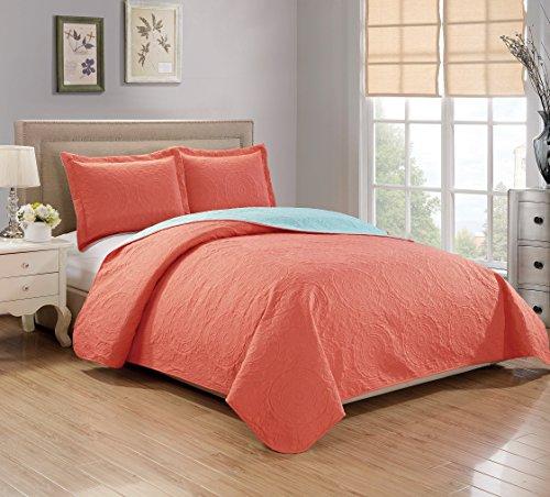 RT Designers Collection Quilt Set Lexington 3-Piece Reversible, Queen, - Set Designer Bed