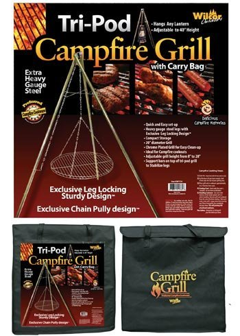 Wilcor Campfire Tri-Pod Grill (Adjustable Height & Quick Setup) by Wilcor