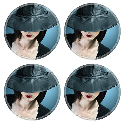 Luxlady Natural Rubber Round Coasters IMAGE ID: 34578837 Young woman in a witch costume her face covered with a hat